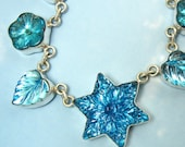 Rare Vintage Glass Blue Star Pendant Necklace Art Deco Leaves and Flowers set in Sterling Silver Sterling  #314