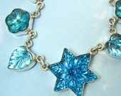 Blue Star Necklace Vintage Glass Sterling Silver Art Deco Jewelry