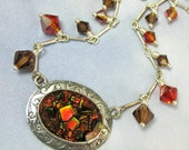 Sterling Silver Necklace Vintage Glass Necklace Art Deco Jewelry Romantic Gothic