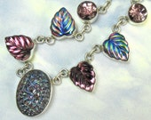 Purple Vintage Glass Necklace Sterling Silver leaf NecklaceHoliday Sale Christmas Sale