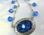 Art Deco Necklace in Sapphire Blue and Silver-  Great Gatsby Statement Necklace