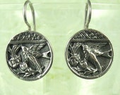 Bird Earrings- Vitorian Buttons in Sterling Silver- Simple Earrings
