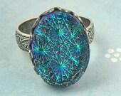 Starburst Blue Glass Stone- Victorian Statement Ring