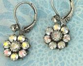 Aurora Borealis Swarovski Crystal Rhinestone Flower Earrings Antique Silver Earwires