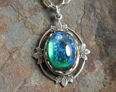 Vintage Teal Green Glass Opal Necklace with Antique Silver Filigree Setting and Chain