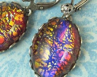 Orange Fire Opal Glass Earrings Vintage Glass Stones art deco earrings