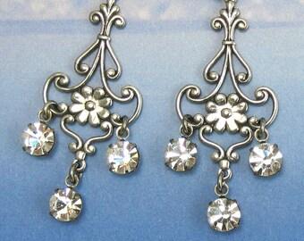 Crystal Chandelier Earrings Rhinestone Earrings Art Nouveau Flower