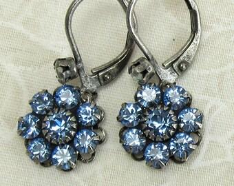 Blue Swarovski Crystal Rhinestone Dangle Earrings with Antique Silver Earwires