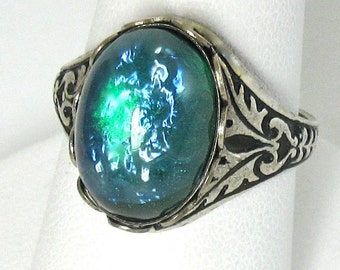 Green Fire Opal Ring Vintage Glass Adjustable Cocktail Ring