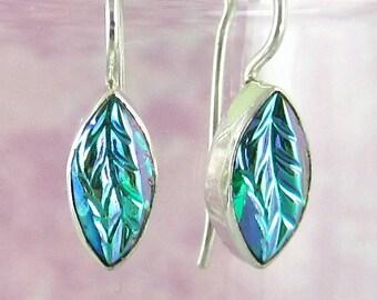 Green Leaf Earrings Sterling Silver Vintage Glass Earrings 501