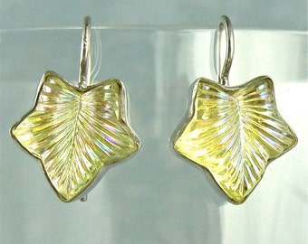 Yellow Vintage Earrings Sterling Silver Lalique Leaf 1920s Art Deco Style Jewelry 523