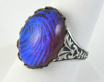 Purple Adjustable Ring Iridescent Glass Dragons Breath Opal with Antique Silver Band
