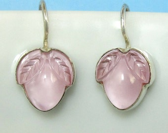 Pink Floral Earrings Flower Bud Sterling Silver Lalique Inspired Vintage Glass 359