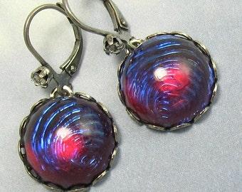 Purple Opal Earrings Gothic Dragons Breath Mexican Opal Glass Dangle Earrings