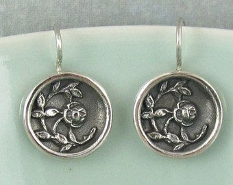 Antique Button Casting Earrings Sterling Silver Rose