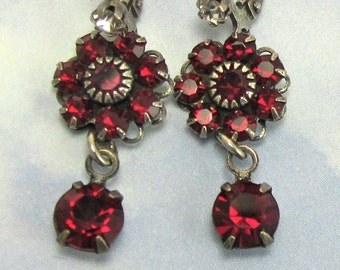 Ruby Red Earrings Swarovski Rhinestone Flower and Swarovski Drop Earrings