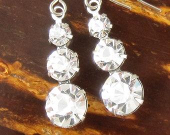 Silver Drop Earrings Clear Swarovski Crystal