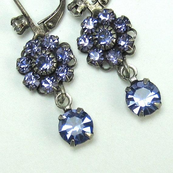 Purple Flower Earrings Rhinestone Drops