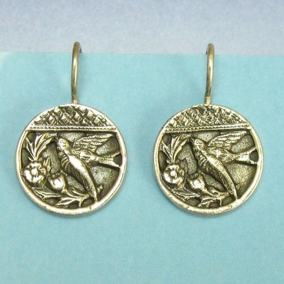 Victorian Button Casting Bird Motif Earrings set in Sterling Silver