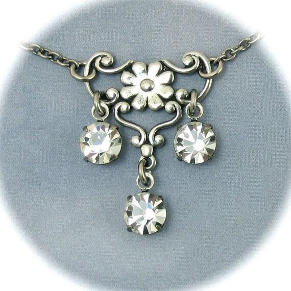 Clear Rhinestone Necklace Flower Filagree Pendant Bridesmaid Jewelry