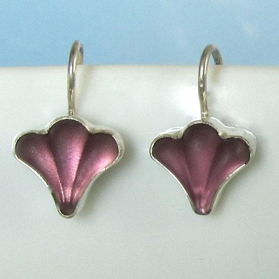 Purple Silver Earrings Lalique Inspired Fleur De Lis Sterling Silver Vintage Glass 342