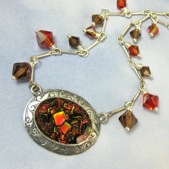 Sterling Silver Necklace Vintage Glass Necklace Art Deco Jewelry Romantic Gothic 641