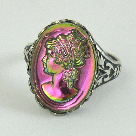 Adjustable Cocktail Ring Vintage Glass Fuschia Pink Greek Cameo Stone and Antique Silver Filagree Band