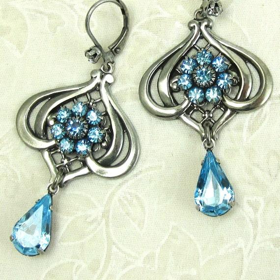 Blue Drop Earrings Flower Art Nouveau Filagree Aqua Blue Glass