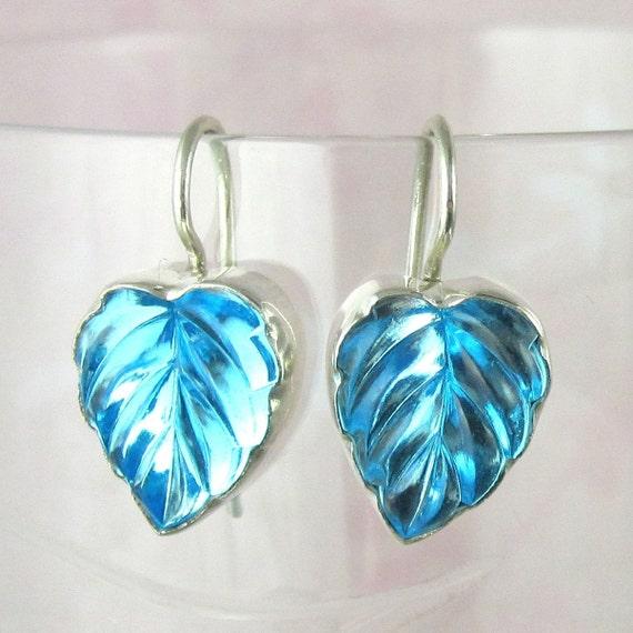 Vintage Glass Aqua Leaf Earrings set in Sterling Silver Art Deco Inspired 311