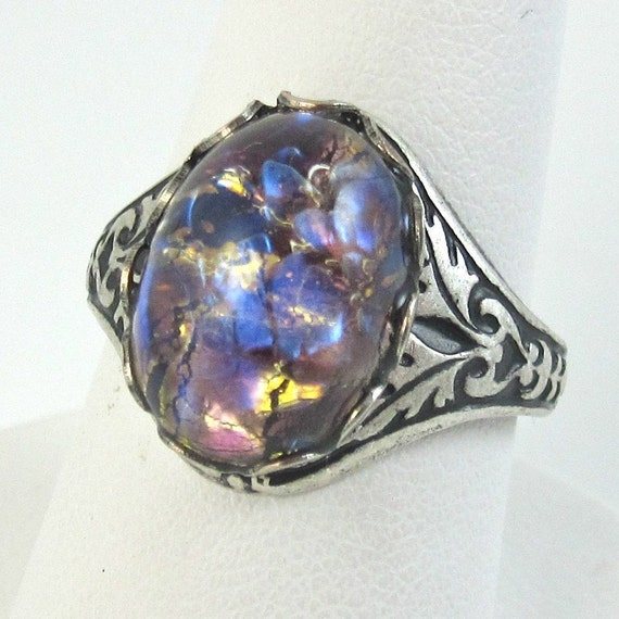 Adjustable Ring Vintage Purple, Blue , and Gold Glass Fire Opal with Antique Silver Filagree Band