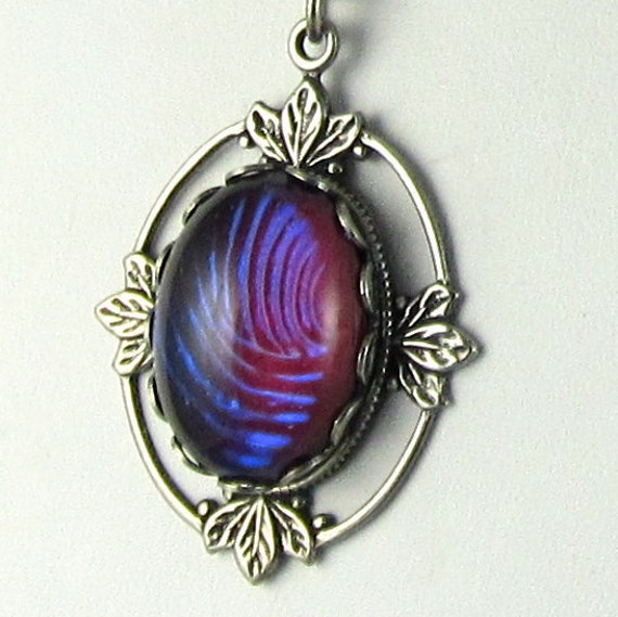 Purple Gothic Pendant Necklace Dragon Breath Glass Pendant on Silver Chain Romantic Gothic
