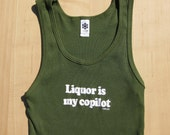 Liquor is my copilot - women's fitted ribbed tank top, army green