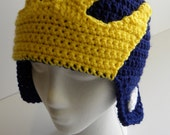 CROCHET PATTERN Michigan Wolverines Helmet Hat w/permission to sell finished items