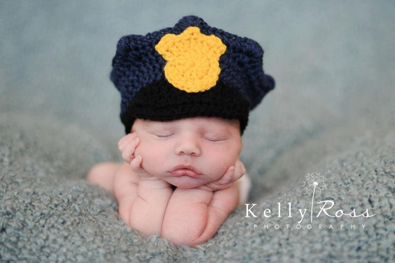 CROCHET PATTERN - Policeman Hat w/ permission to sell finished items