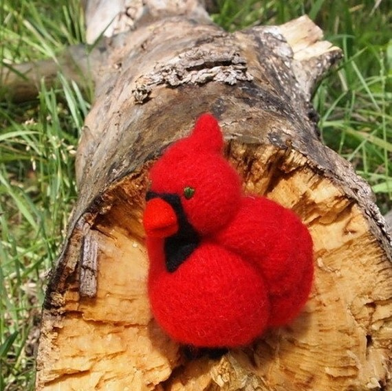 Red cardinal bird wool felted toy