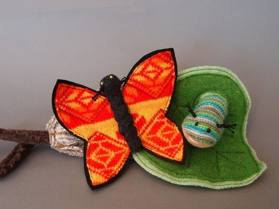 Monarch butterfly, Caterpillar, Cocoon and Leaf Play Set