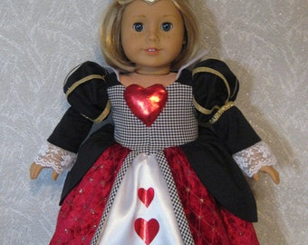 Queen of Hearts Costume for American Girl or other 18 inch Dolls