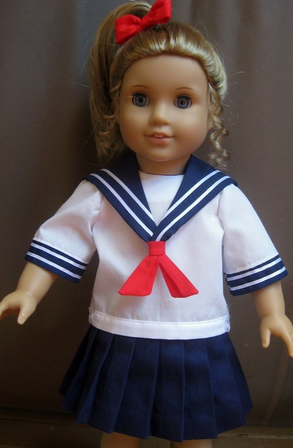 Doll Clothes Sailor Outfit School Uniform Fits American Girl