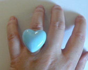 Light blue heart  Ring
