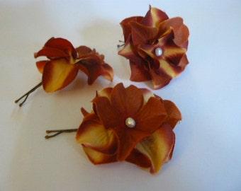3 Bridesmaid brown hydrangea hair flowers