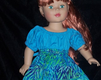 American Girl Dolls 18 inch Doll Clothes Teal Blue Top and Twirl  Skirt