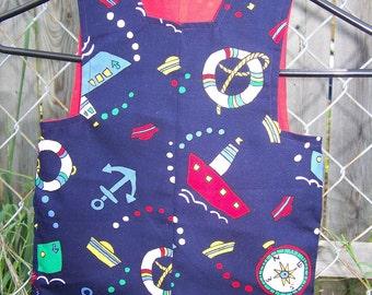 Nautical  Fabric Print Boys Romper Jon Jon Ready to Ship Size Two only