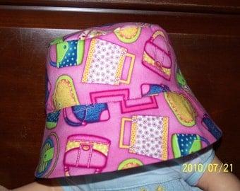 Little Girl Hot Pink Bucket  Pocketbook Hat