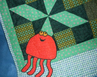 My  Happy Dancing Red Jelly Fish Handmade  Baby Heirloom Quilt or a Lap Quilt for Nanny