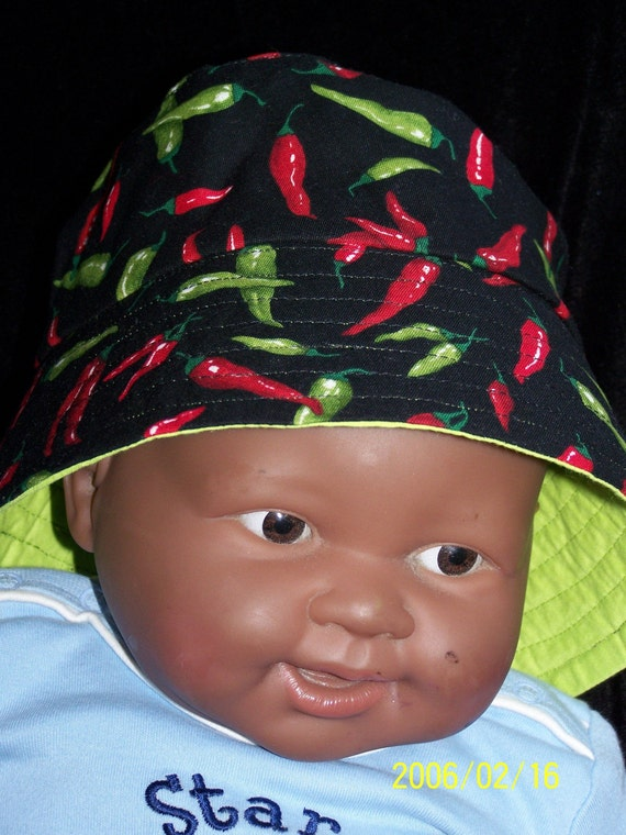 Infant or Toddler Hot Chilli Pepper Fabric Hat lined with Lime Green Fabric