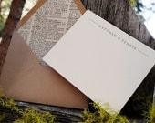 Custom Letterpress Stationery, the Dictionary - set of 30