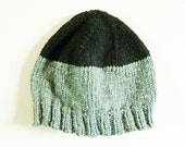 Adult Knit Hat - Beanie -  Grey and Black - 100% Acrylic