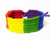 Woven Friendship Bracelet - Rainbow - Red, Orange, Yellow, Green, Blue, Purple - Bright and Colorful - 100% Cotton