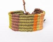 Woven Friendship Bracelet - Neutral Earth Tones - Brown, Green, Orange, Tan - 100% Cotton