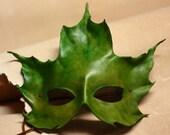 Green Maple Leaf Handmade Leather Mask